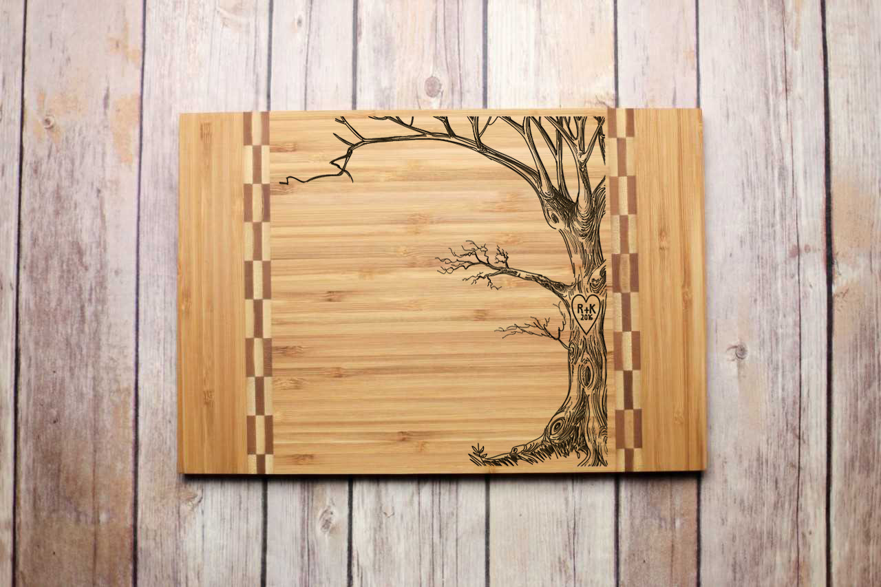 Inlay Personalized Cutting Board - Love Tree