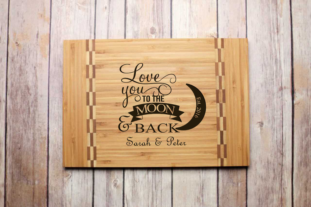 Inlay Personalized Cutting Board - Love You to the Moon & Back