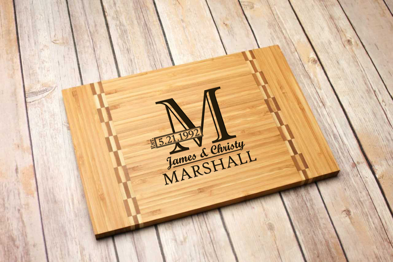 Inlay Personalized Cutting Board - Imprint Cutout Initial