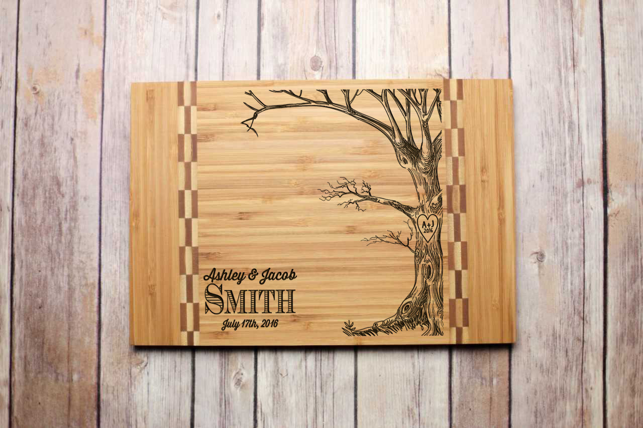 Inlay Personalized Cutting Board - Love Tree with Names