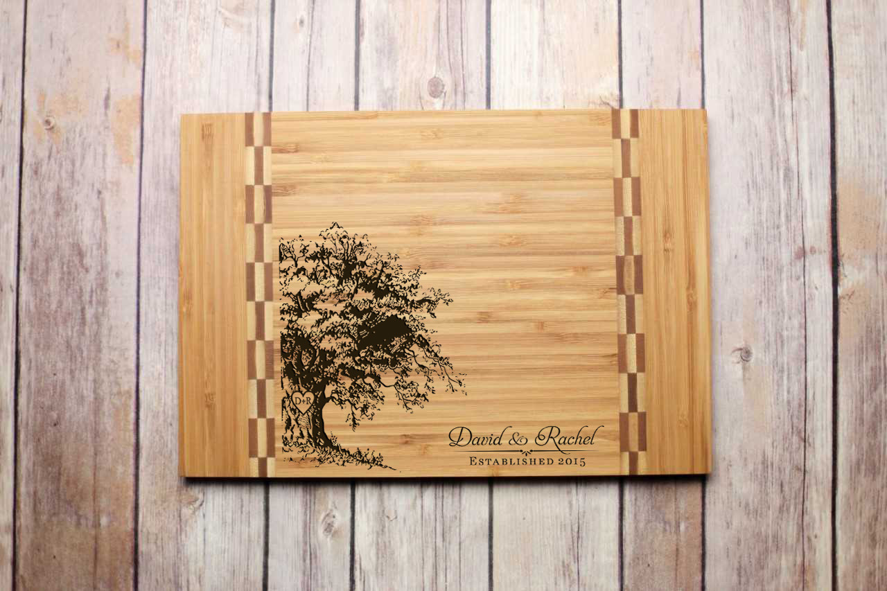 Inlay Personalized Cutting Board - Oak Tree