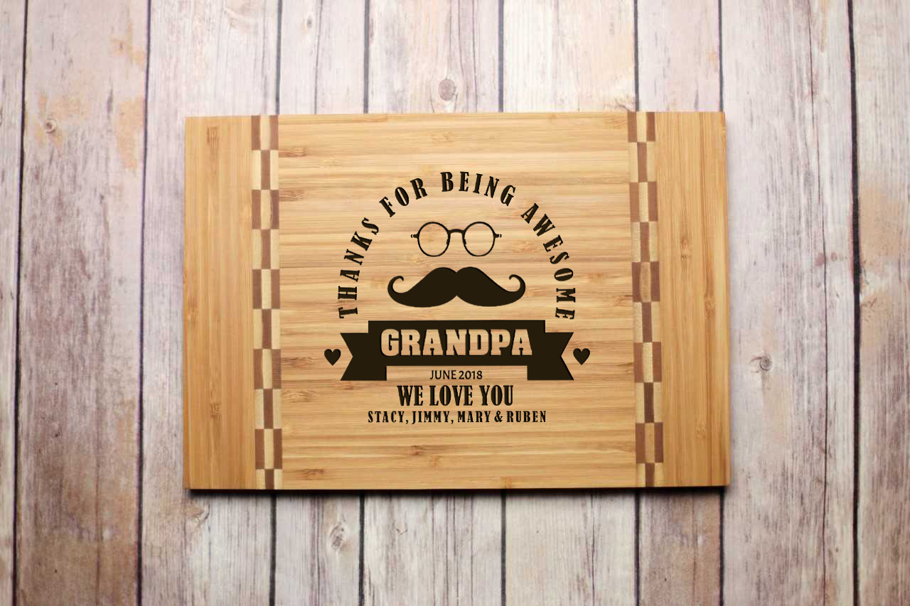 Inlay Personalized Cutting Board - Awesome Grandpa