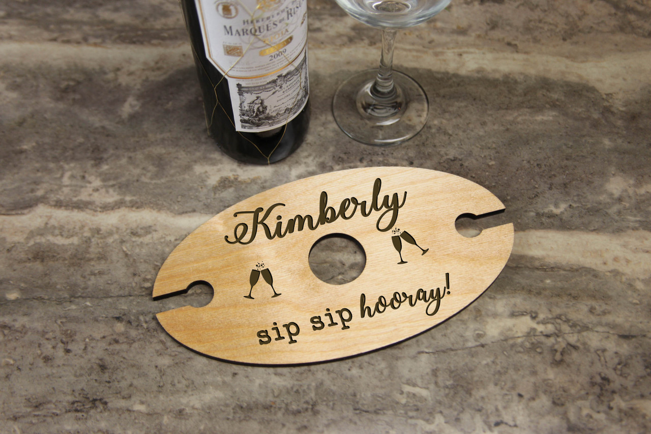 Groupon AU/NZ - Personalized Wine Caddy & Glass Holder - Sip Sip Hooray