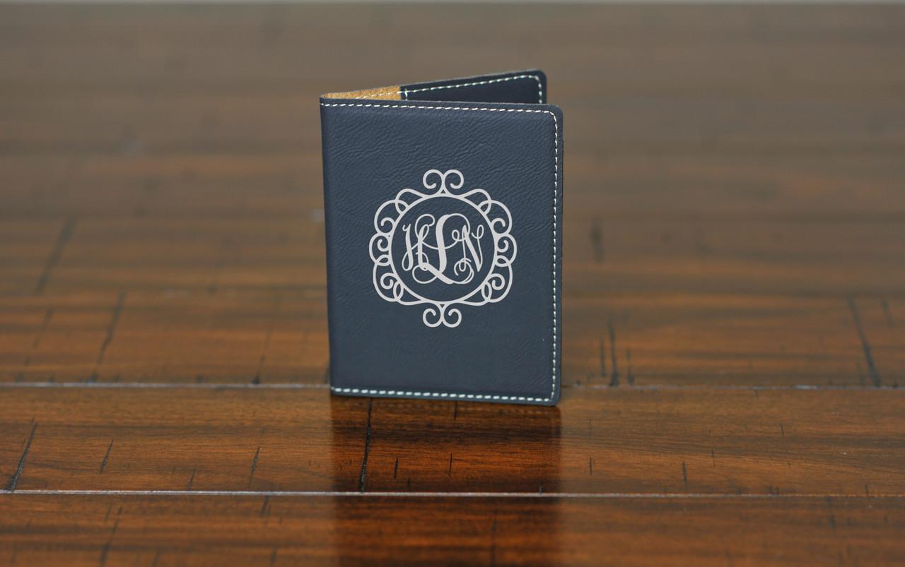 LUX  -  Leather Passport Wallet Holder - Vine Circle Monogram