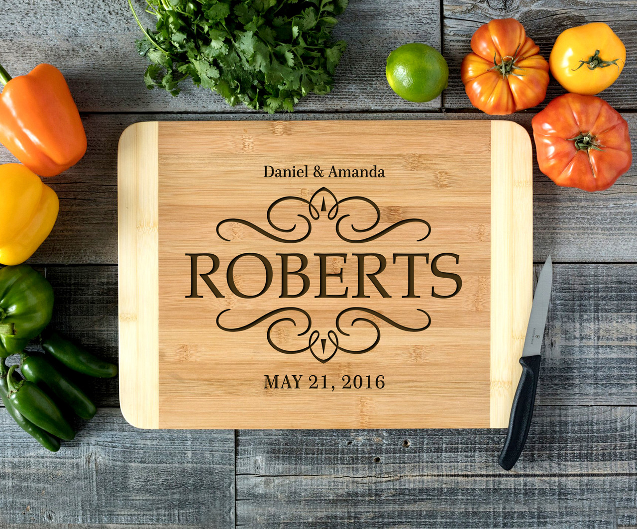 Vintage Family Last Name Personalized Cutting Board HDS