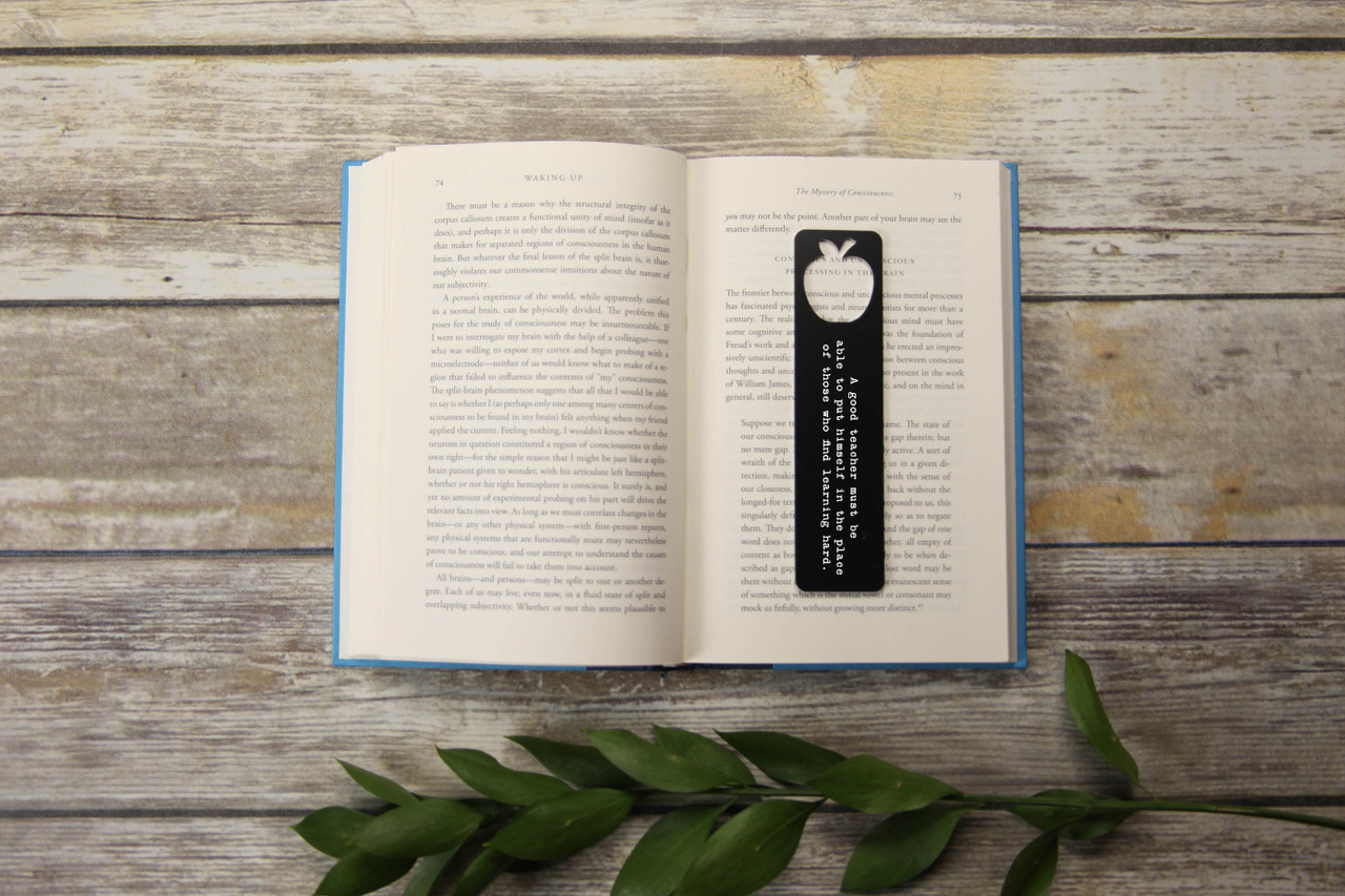 LUX - Engraved Bookmark - Large Apple Cutout 'Good Teacher'