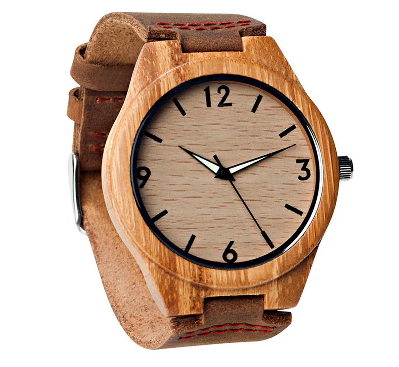 GRPN Italy - Wood Engraved Watch Glow Dials W#68 - Aura