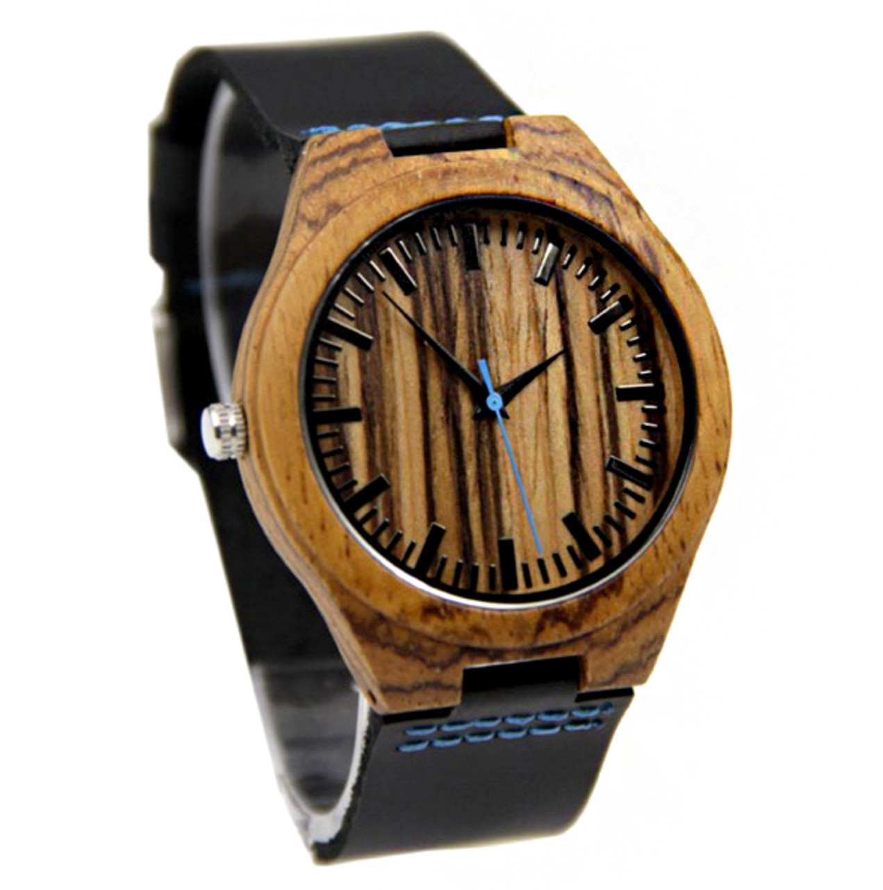 GRPN Italy - Wood Engraved Watch W#70 - Ocean