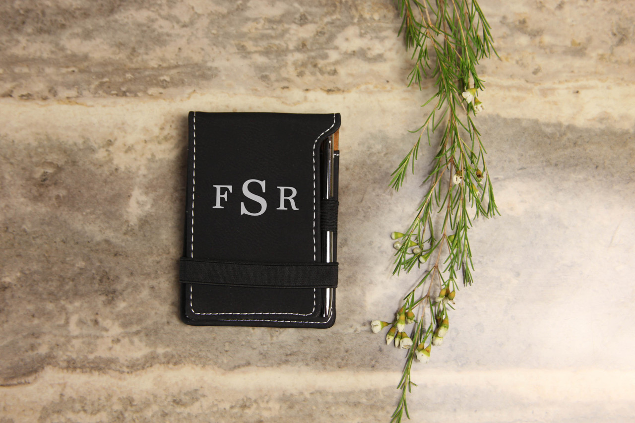 Grpn Spain - Personalized Leather Notepad - Masculine Monogram