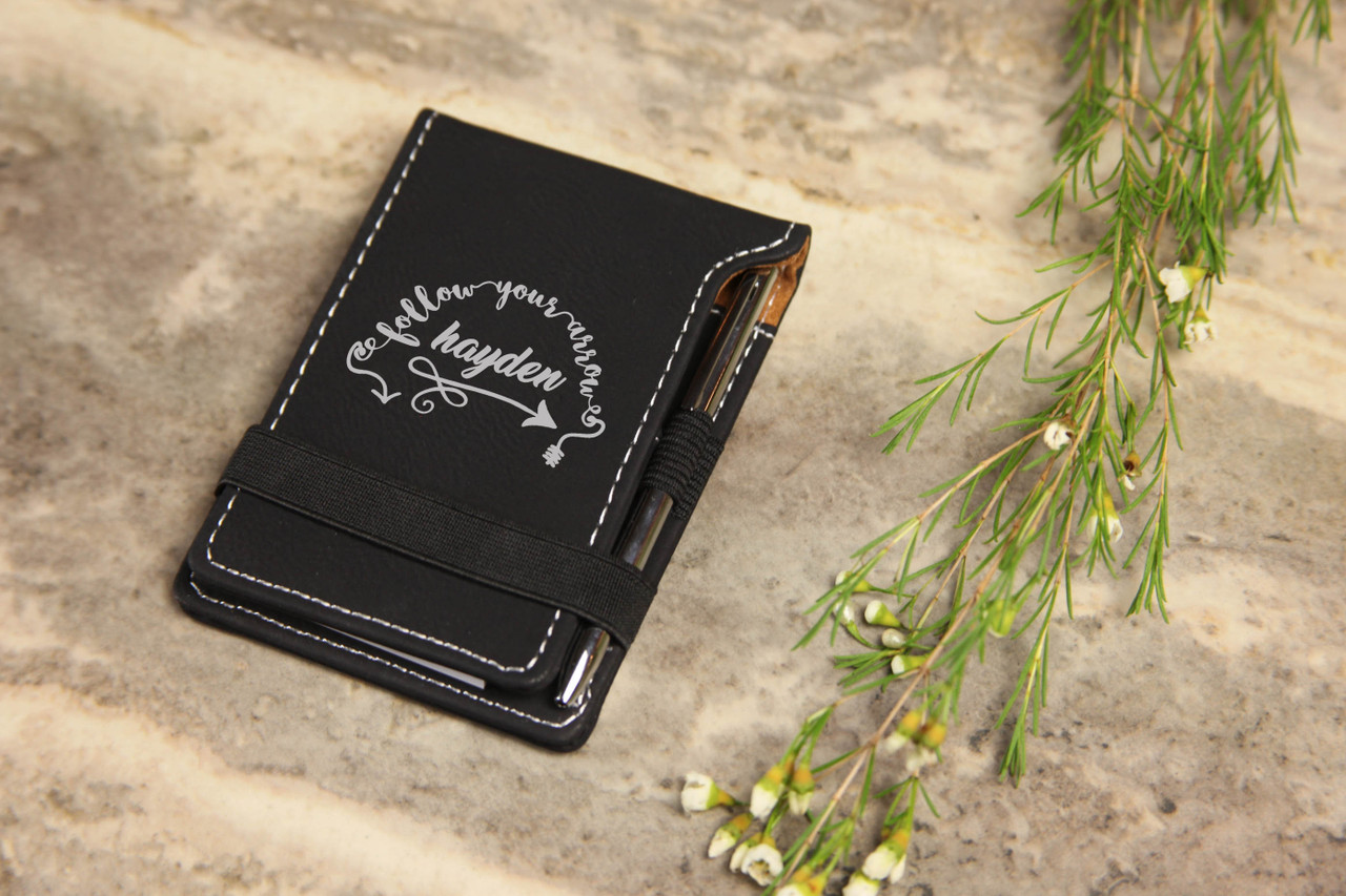 Grpn Spain - Personalized Leather Notepad - Follow Your Arrow