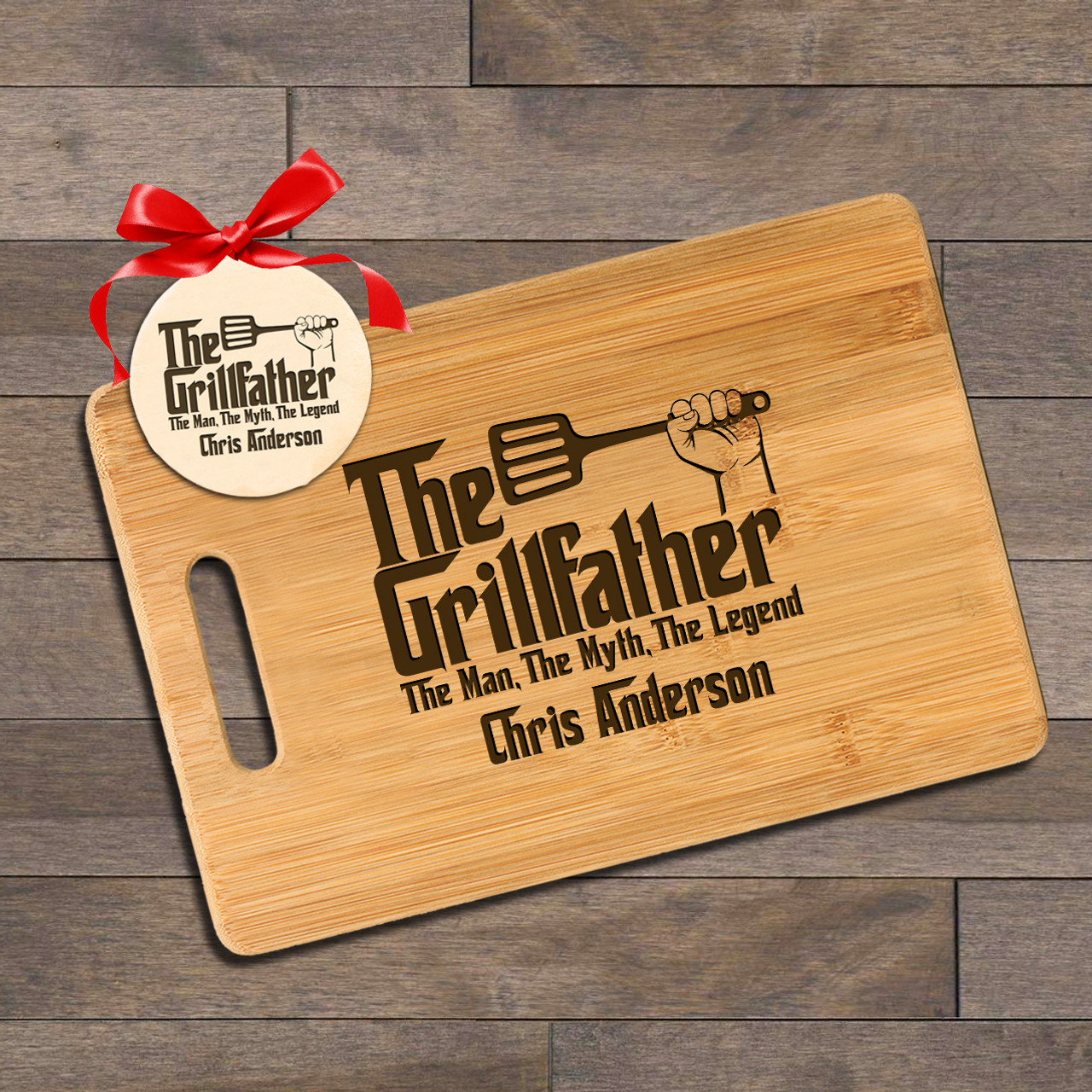 Personalized Cutting Board with Ornament - The Grillfather