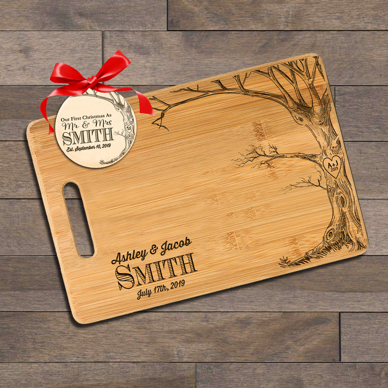 Personalized Cutting Board with Ornament - Love Tree