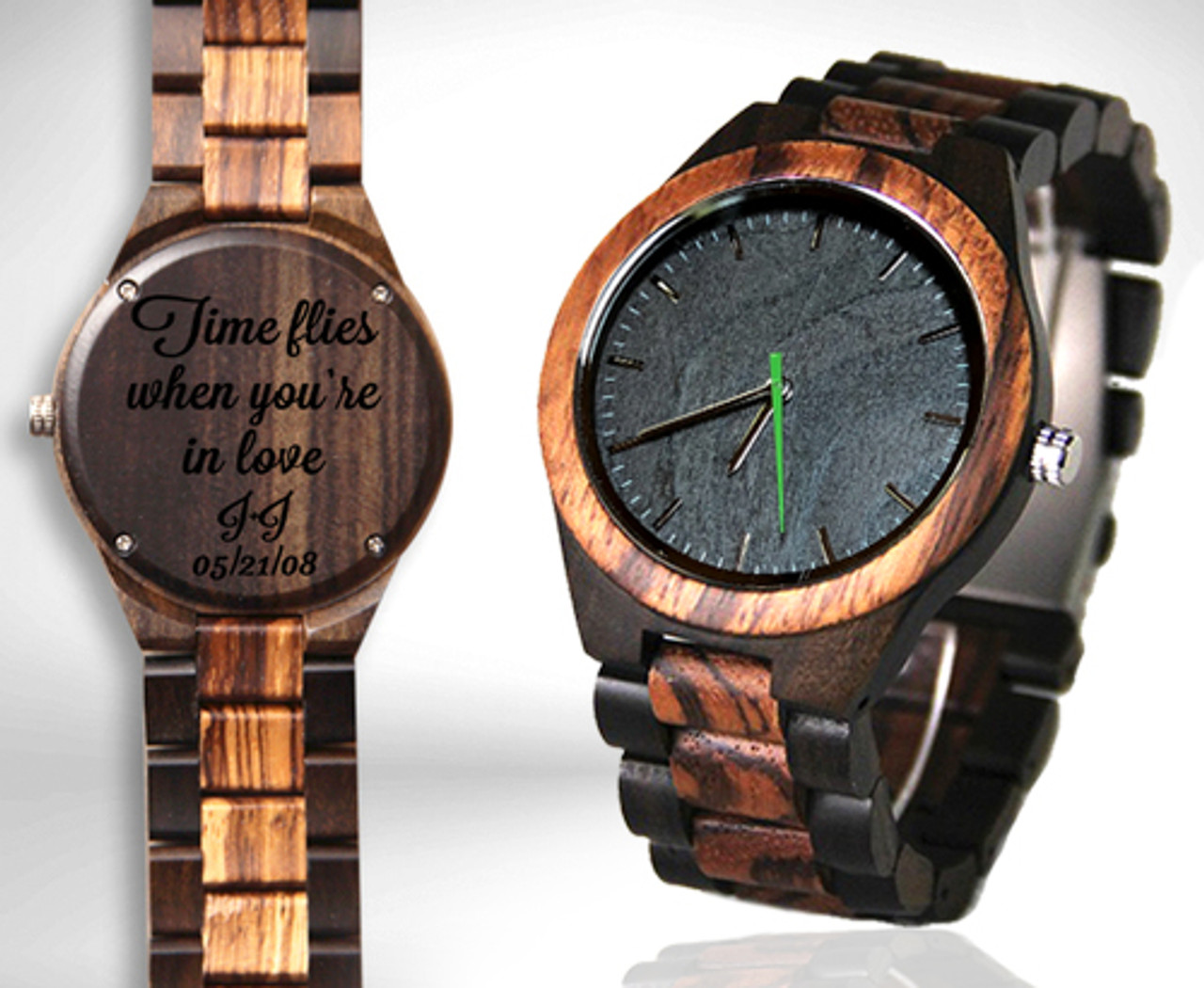 Wood Engraved Watch #101