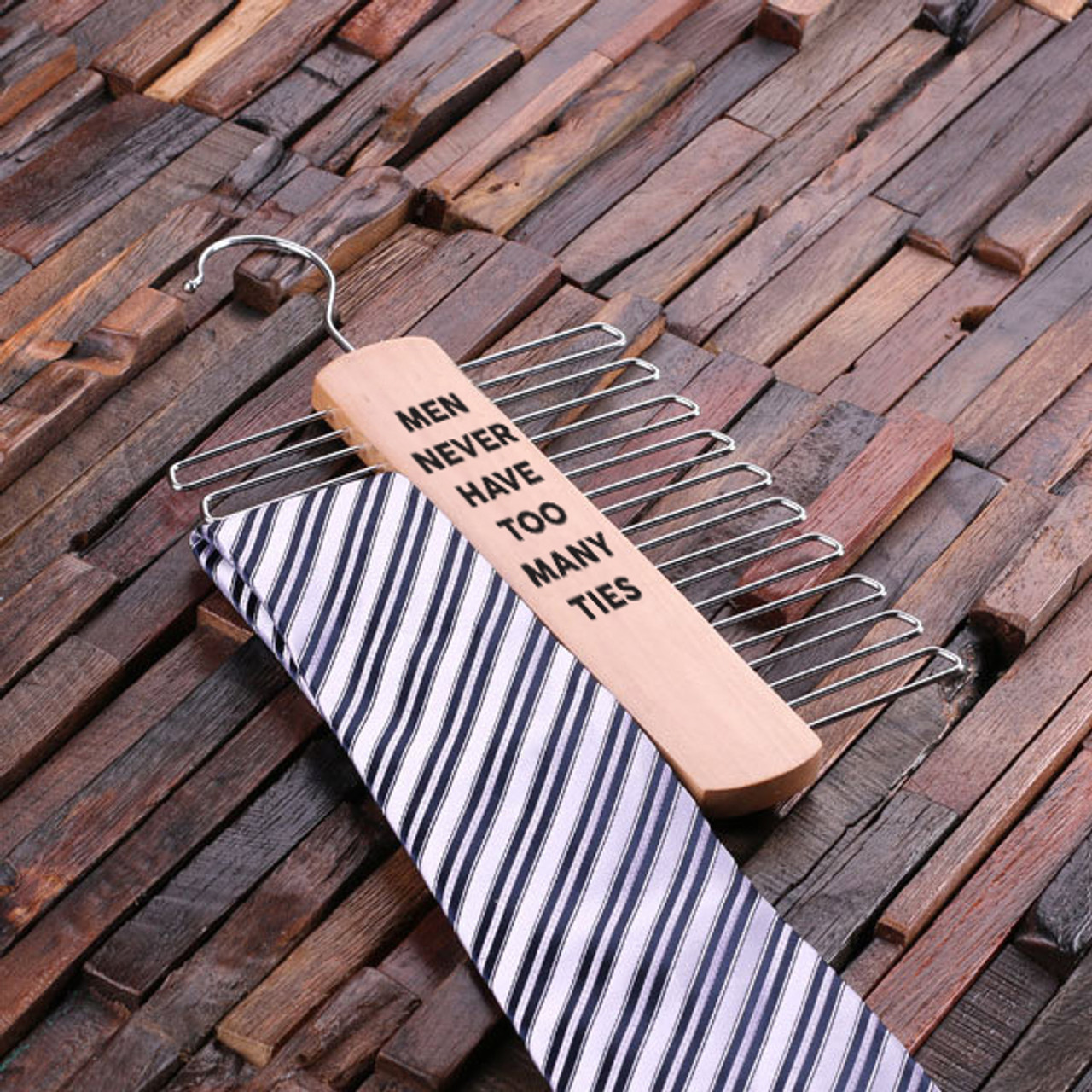 Engraved Tie Hanger - Never Too Many