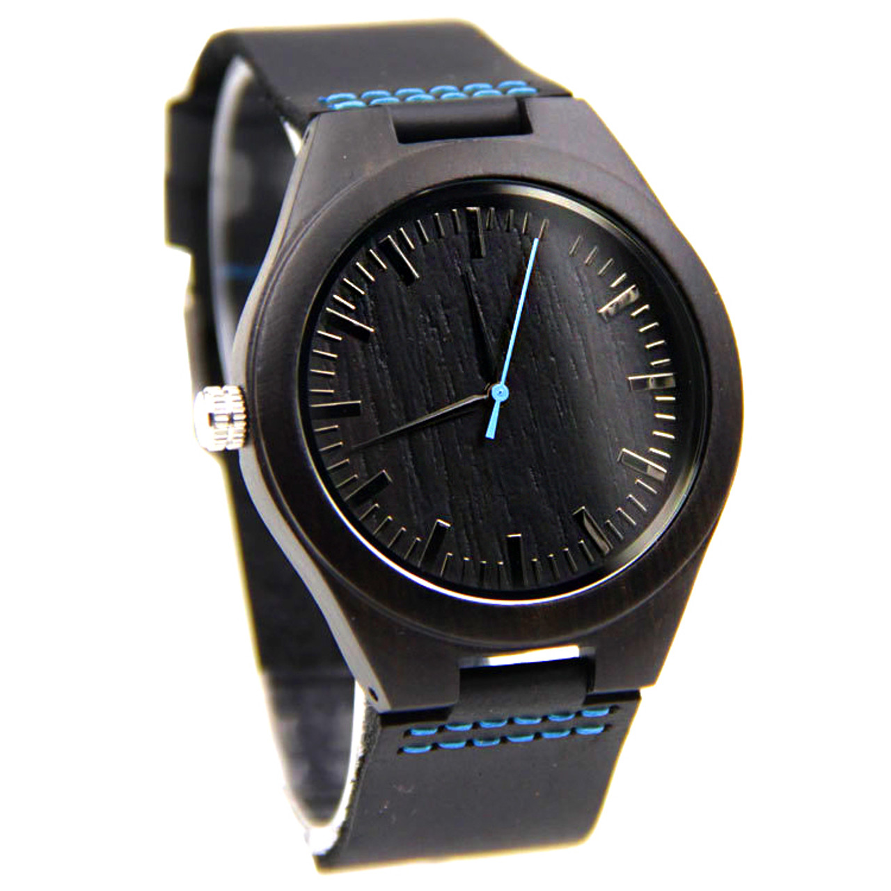Wood Engraved Watch W#83 - Midnight