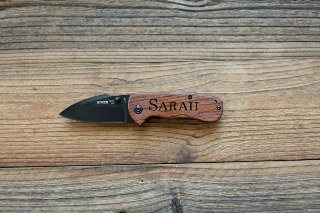 Personalized Pocket Knife - Walnut