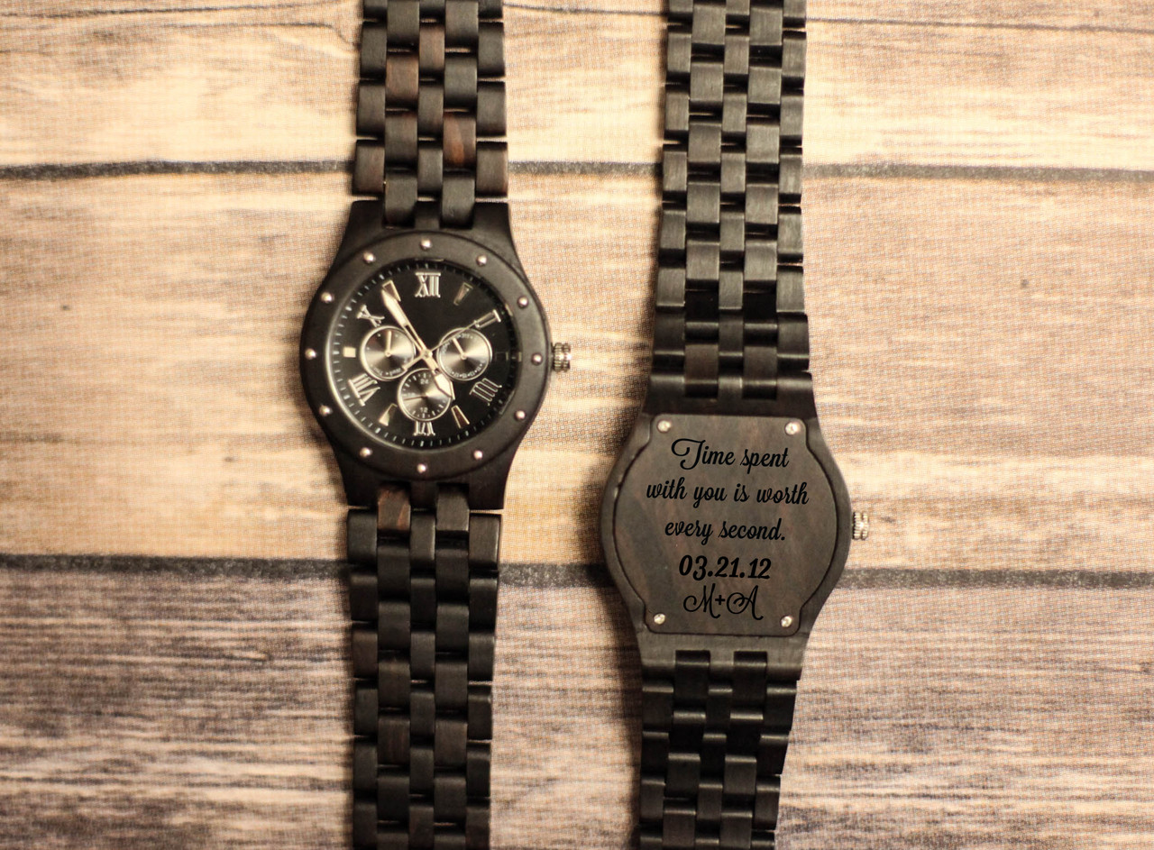 Wood Engraved Watch W#95 - Recoil Link