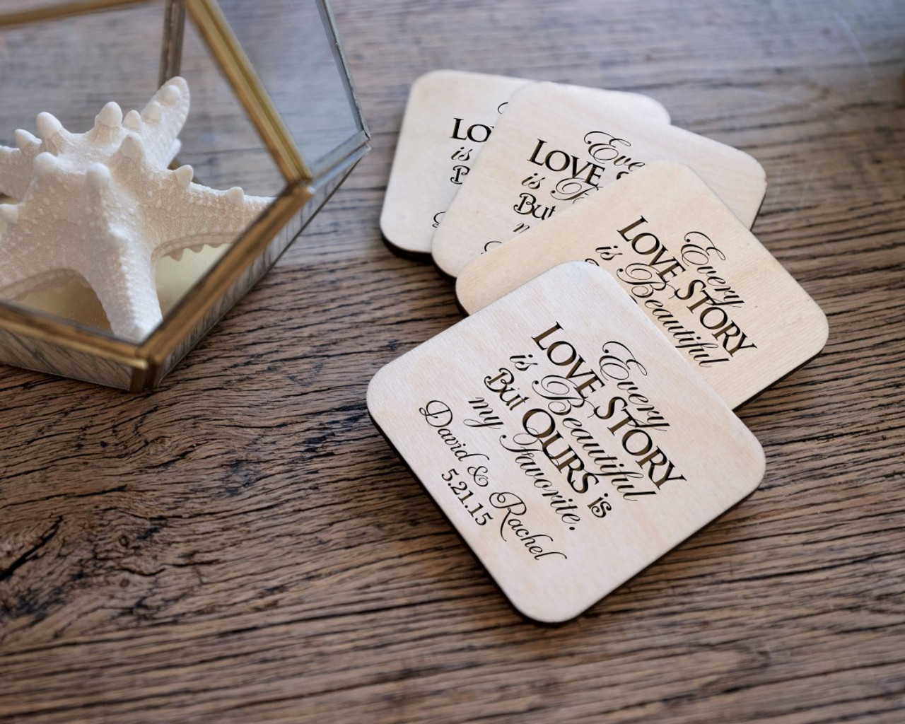 Personalized Coaster Set - Love Story