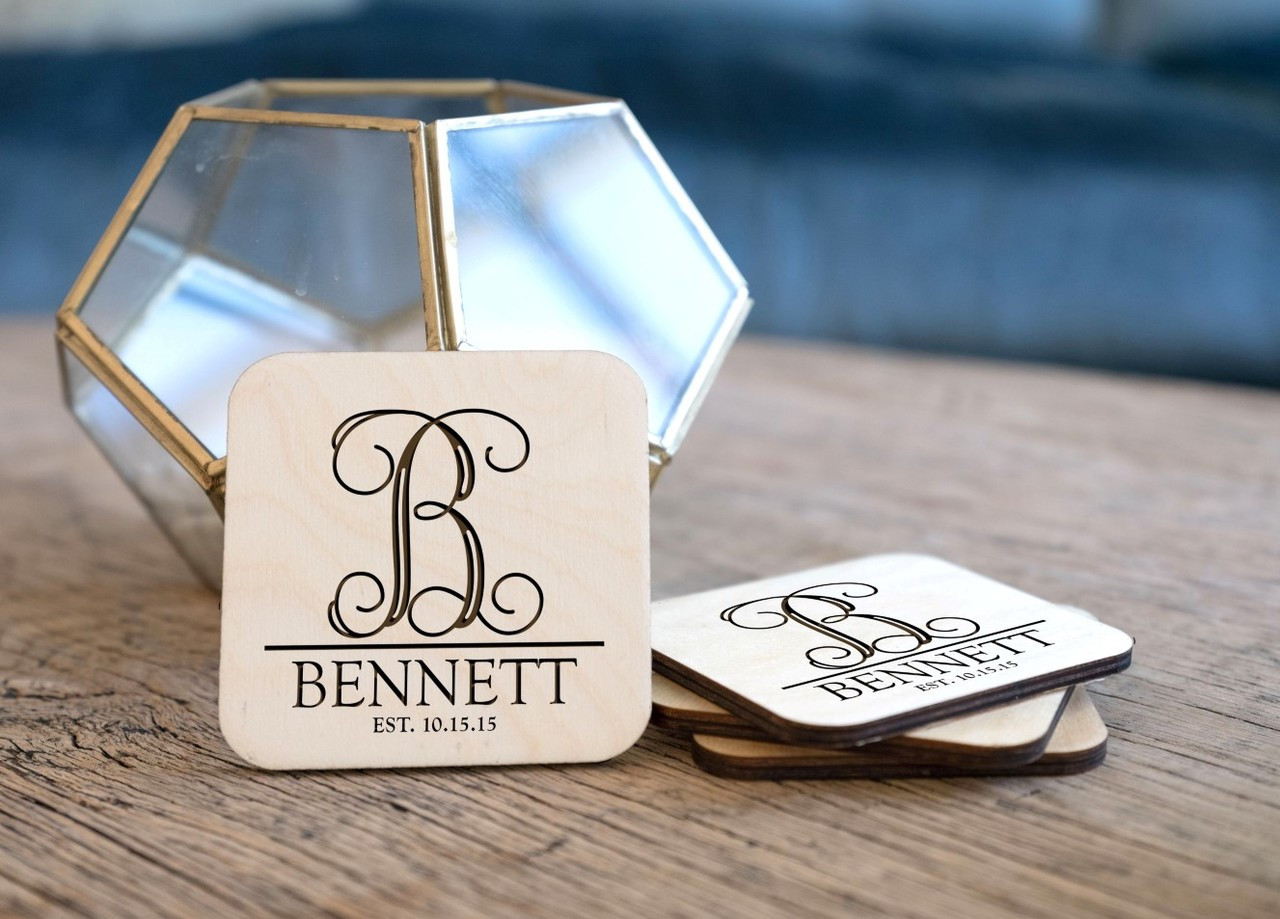 Personalized Coaster Set - Monogram Initial