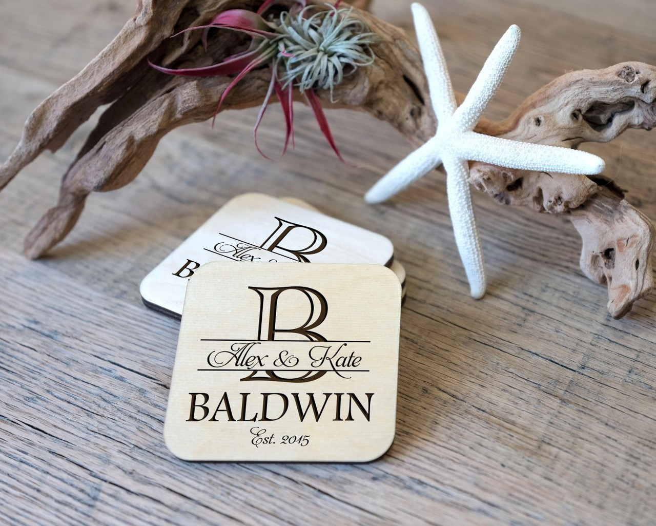 Personalized Coaster Set - Imprint Initial