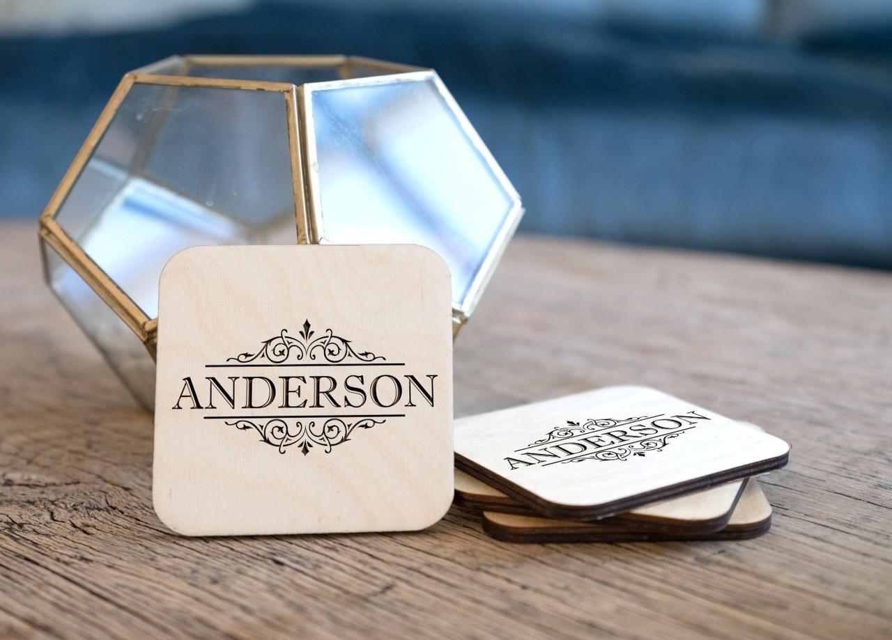 Personalized Coaster Set - Vine Name