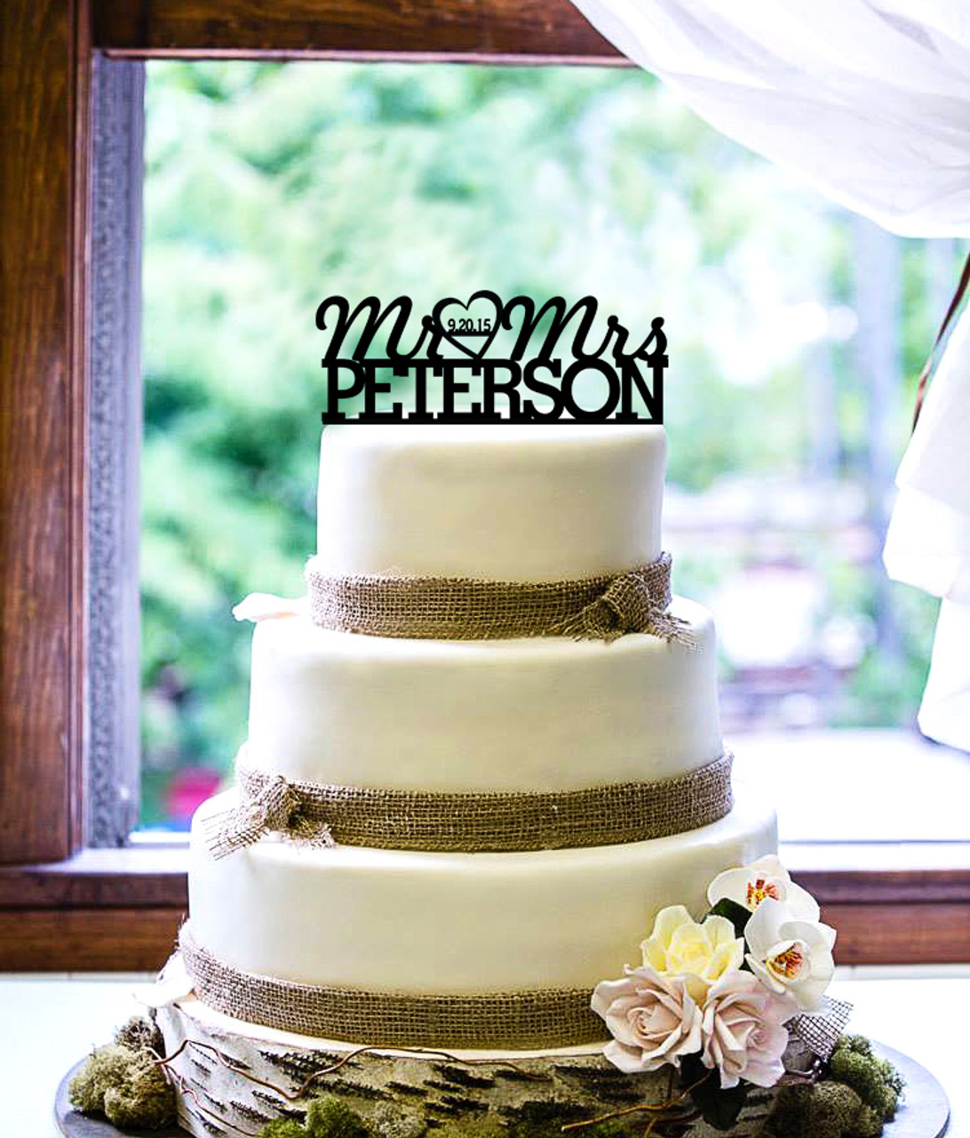 Personalized Cake Topper - Mr & Mrs Name and Date