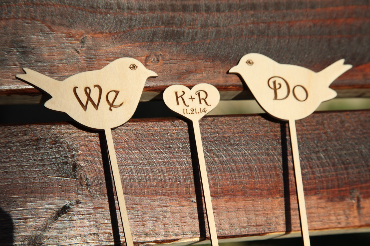 Personalized Cake Topper - We Do Birds