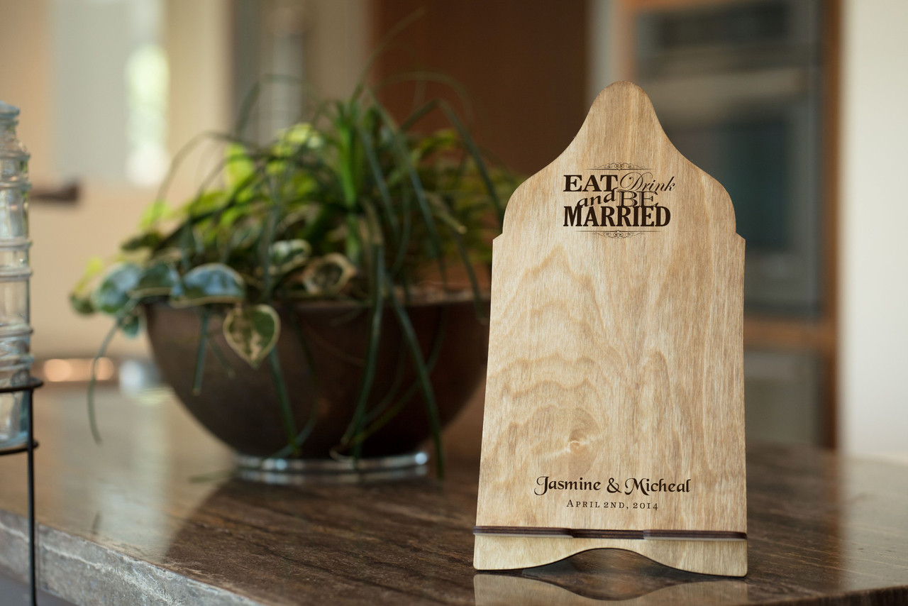 Personalized iPad Tablet Stand - Eat Drink and Be Married