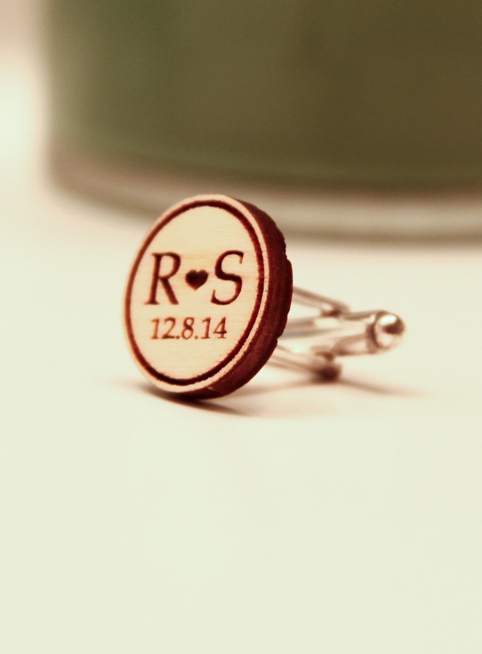 Personalized Wood Cuff Links - Initial & Date