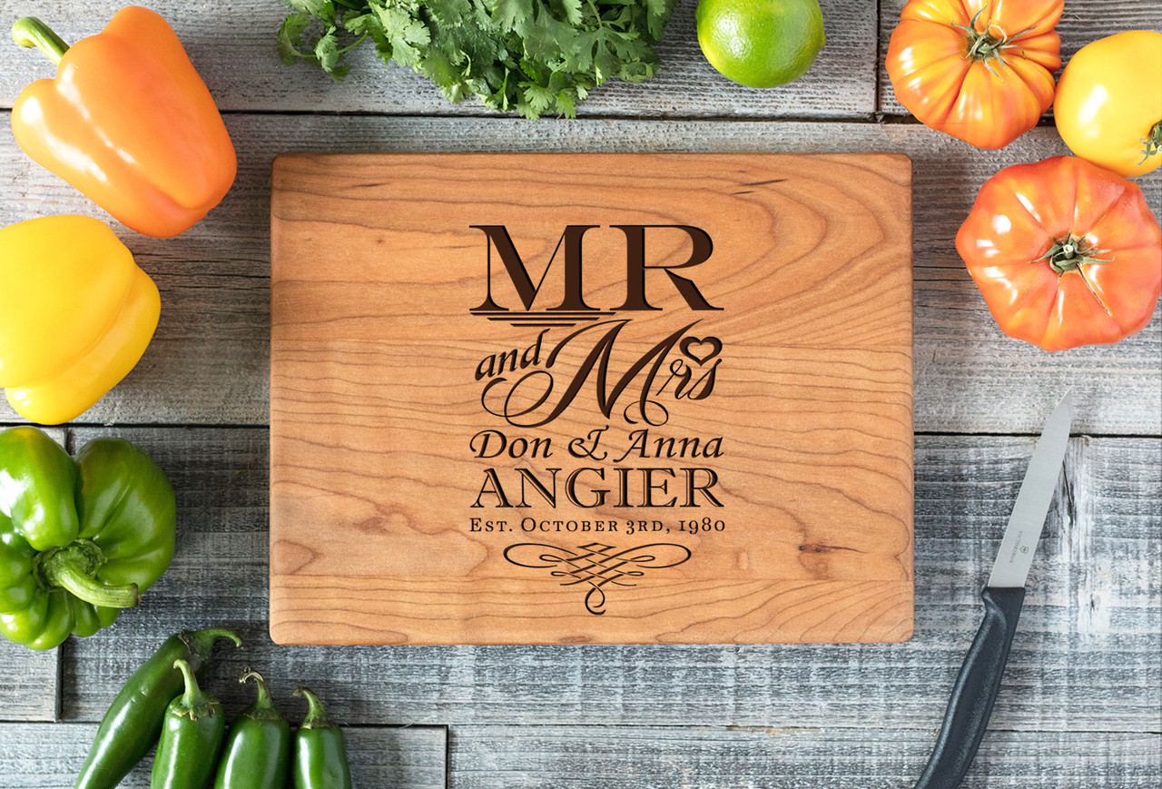 Cherry Personalized Cutting Board ~ Mr and Mrs Name