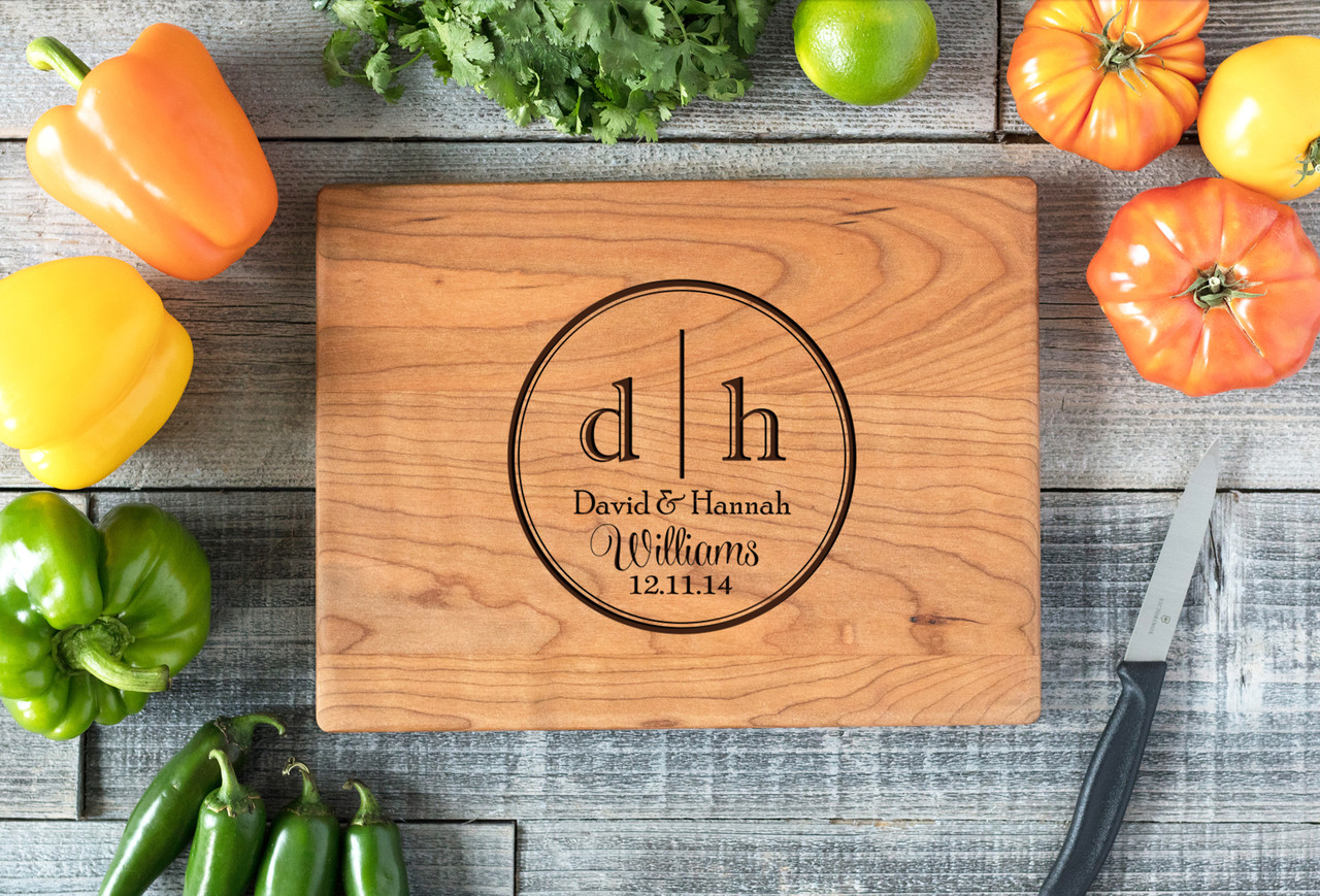 Cherry Personalized Cutting Board ~ Dual Initial