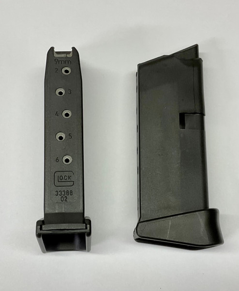 Glock 43 Magazine 9mm 6rd pinky extension  New OEM