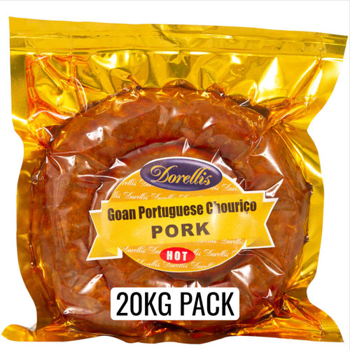 Dorellis Goan Portuguese Sausage (Chorizo) 20 KG pack. Made from 100% Australian Pork and authentic Goan Coconut toddy vinegar. Available in either Hot or Mild spice.