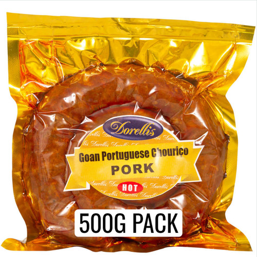 Dorellis Goan Portuguese Sausage (Chorizo) 500g pack. Made from 100% Australian Pork and authentic Goan Coconut toddy vinegar. Available in either Hot or Mild spice.