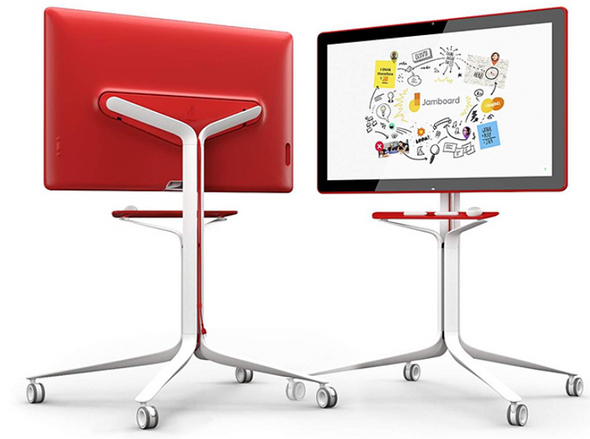 "25Kg+ Freight Rate-RED 55"" 4K GOOGLE JAMBOARD,WIDE ANGLE Cam,WIFI,SPK,2x PASSIVE STYLUS,ERASER (W/WALLMOUNT) 2Y ONSITE SWAP (Authorised Partner Only)"