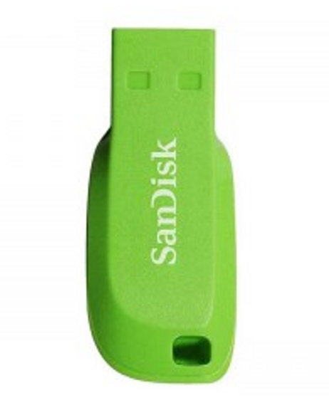 SanDisk Cruzer Blade USB Flash Drive, CZ50 32GB, USB2.0, Electric Green, compact design, 5Y