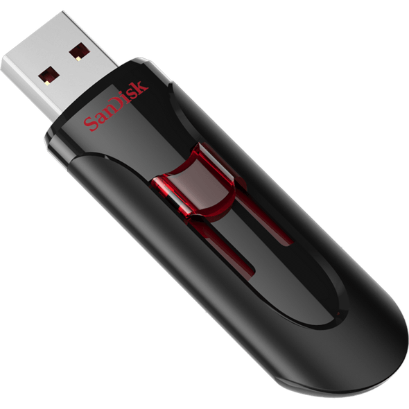 SanDisk Cruzer Glide 3.0 USB Flash Drive, CZ600 256GB, USB3.0, Black with red slider, retractable design, 5Y