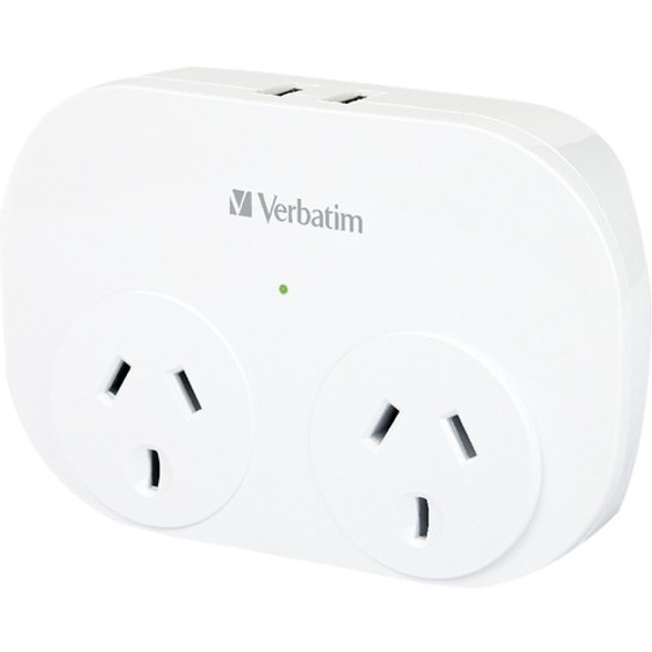 Verbatim Dual USB Surge Protector with Double Adaptor White