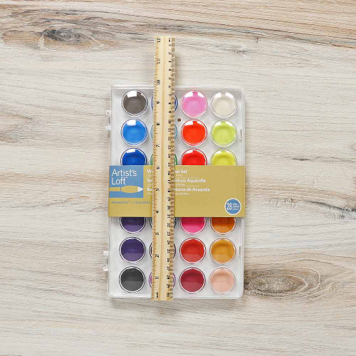 Watercolor Pan Set - 28 Colors - Dimensions