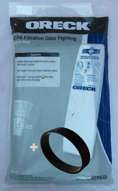 Genuine Oreck HEPA Filtration Odour Fighting Bags (4) + Belt Kit