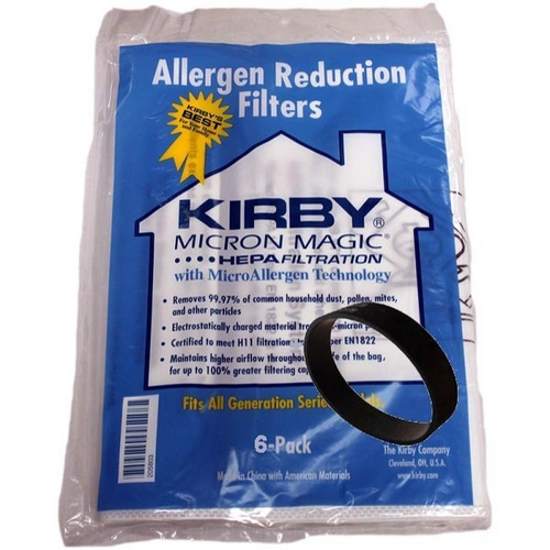 Genuine Kirby Micron Magic HEPA Filtration 204803 Bag Pack (6) + Belt Kit