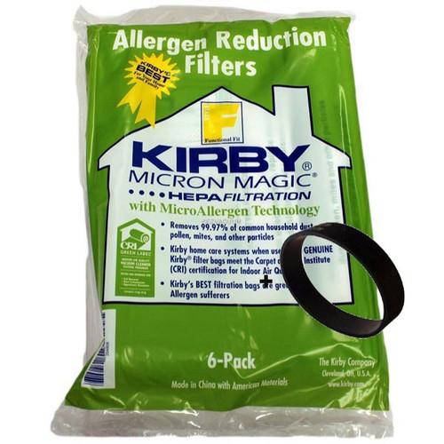 Genuine Kirby F Style Micron Magic HEPA Filtration 204808 Bag Pack (6) + Belt Kit