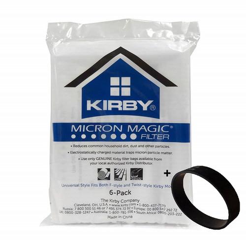 Genuine Kirby Micron Magic Filtration Universal Style Bag Pack (6) + Belt Kit