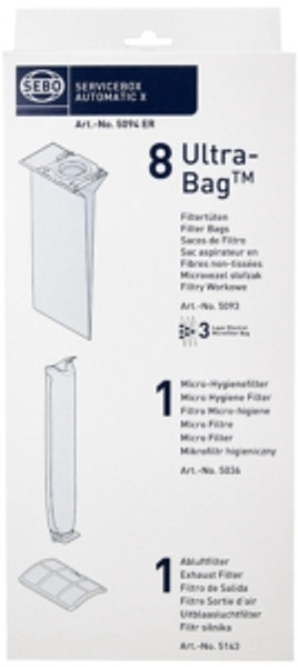 Sebo 5094ER X Series Genuine Service Pack (8 bags+2 filters)