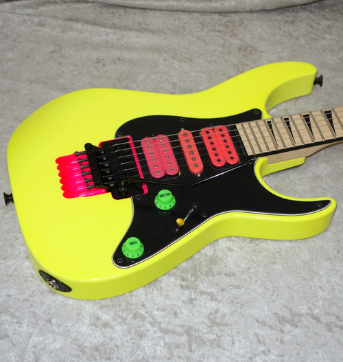 """2021 USA Jackson Custom Shop """"Jewel"""" Dinky HSH in neon yellow finish with case"""