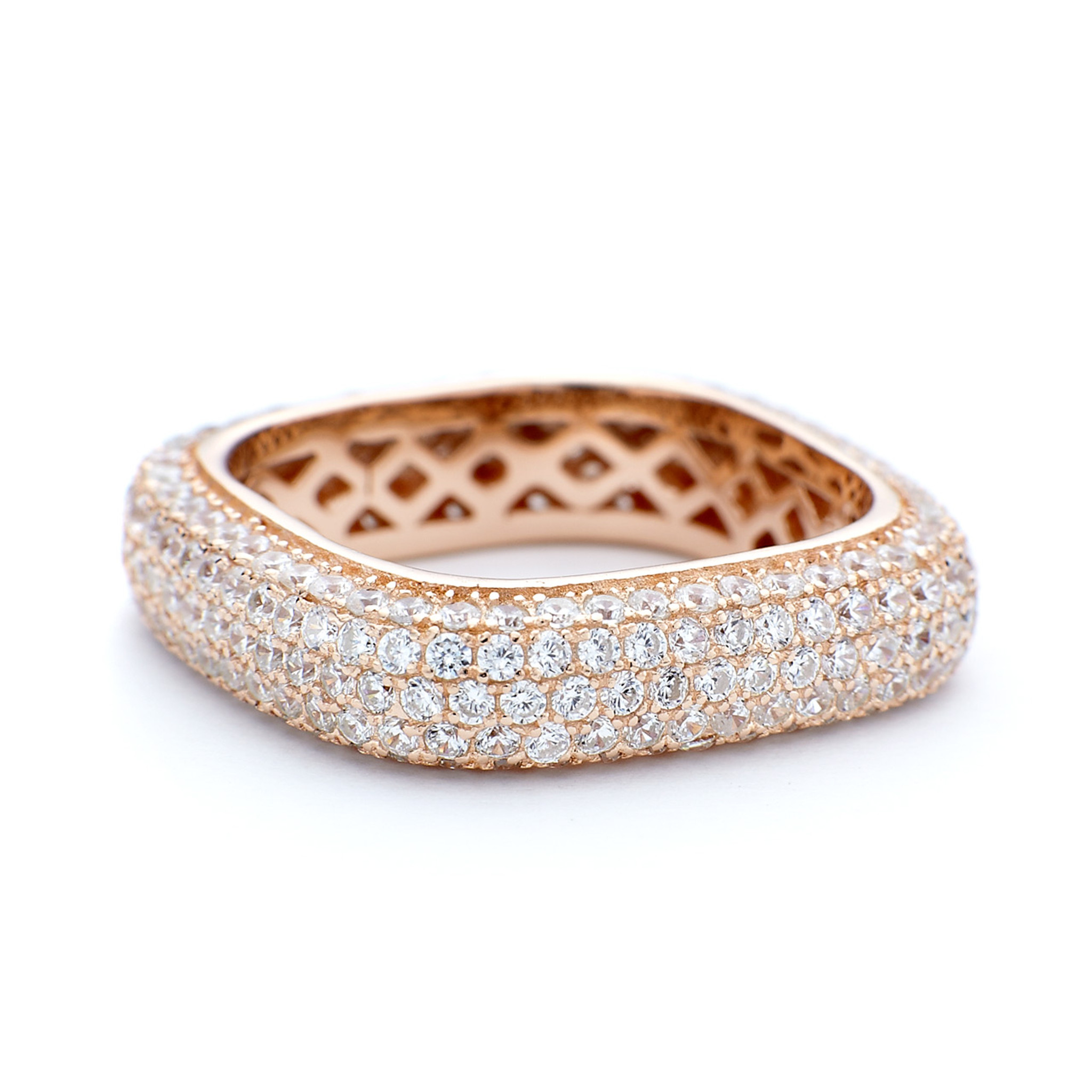 4f2eea84b Rose gold square ring 5mm thick. Sterling silver with CZ crystals.