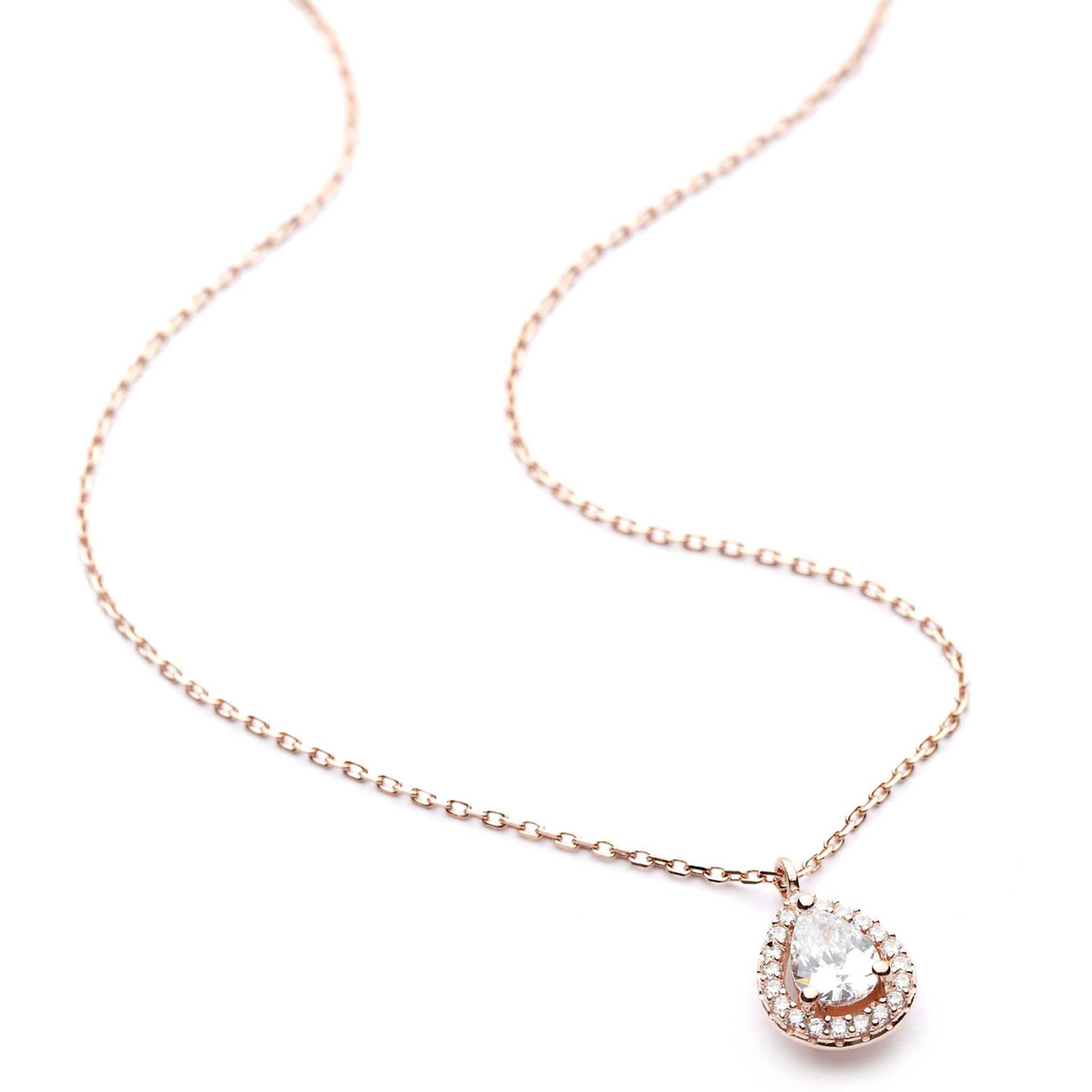 Halo Cz Teardrop Necklace In Rose Gold