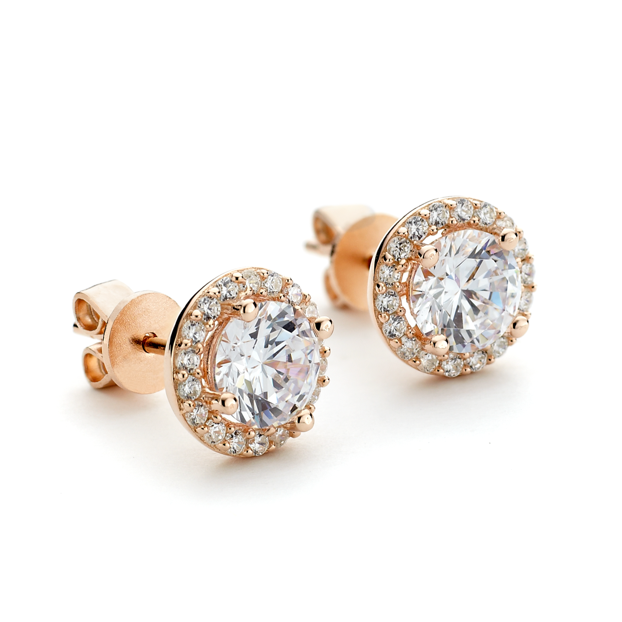 d6b8cfd74 Rose gold overlay round cz stud earrings with halo in sterling silver from  One by One