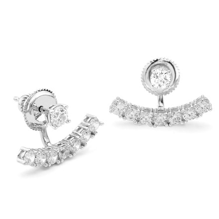Constellations collection swing earring in white rhodium over sterling silver with CZ crystal curved bar