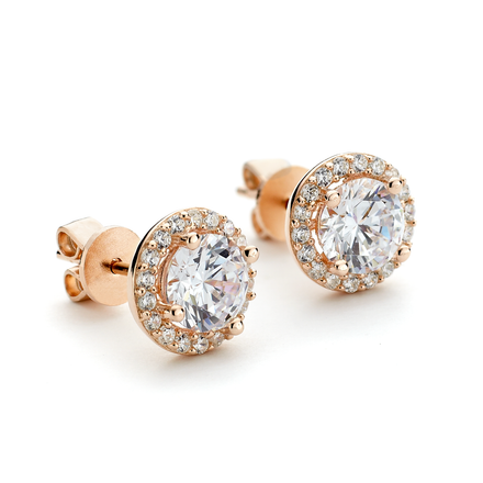 Rose gold overlay round cz stud earrings with halo in sterling silver from One by One